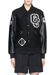 Opening Ceremony 'Oc' Leather Sleeve Varsity Jacket Black