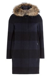 Woolrich Down Coat With Fur Trimmed Hood Grey