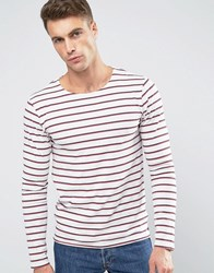 Scotch And Soda Striped Long Sleeve T Shirt Red