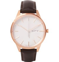 Uniform Wares C40 Rose Gold Pvd Plated Stainless Steel And Leather Watch Brown