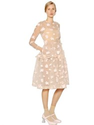 Simone Rocha Ruffled Floral Embroidered Tulle Dress