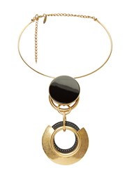 Marni Metal Ring Pendant Choker Gold