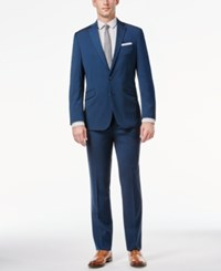 Kenneth Cole Reaction Midnight Blue Sharkskin Slim Fit Suit