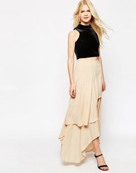 Asos Floaty Maxi Skirt With Layers Nude