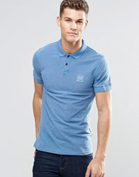 Boss Orange Polo Shirt With Logo In Slim Fit Blue Blue