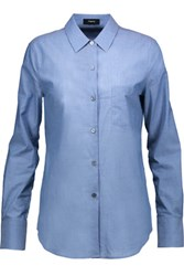 Theory Weylend Cotton Chambray Shirt Blue
