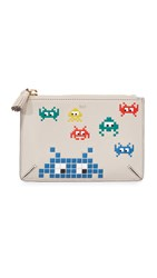 Anya Hindmarch Space Invader Loose Pocket Pouch Grey White
