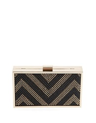 Sasha Chevron Satin Miniaudiere Black Gold