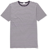 Sunspel Slim Fit Striped Cotton T Shirt Blue