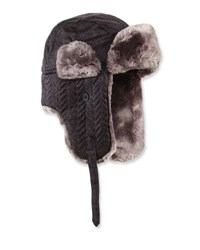 Neiman Marcus Herringbone Quilted Faux Fur Trapper Hat Charcoal D
