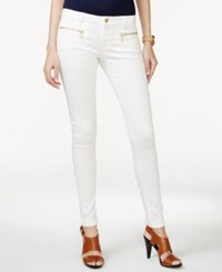 Michael Michael Kors Petite Zip Pocket Skinny White Wash Jeans