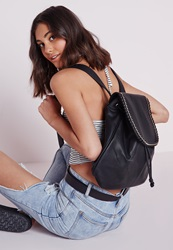 Missguided Oversized Chain Trim Backpack Black Black
