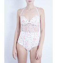 Zimmermann Zephyr Semi Sheer Halterneck Swimsuit Floral