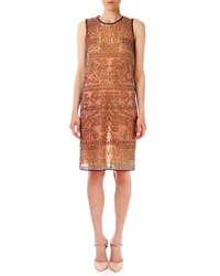Mary Katrantzou Midas Glitter Letter Print Dress Gold