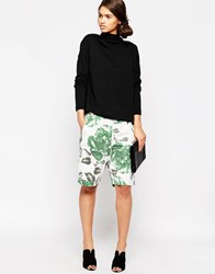 Ganni Huntington Canvas Green Floral Shorts Juniper Flower