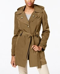 London Fog Hooded Water Resistant Trench Coat Tuscan
