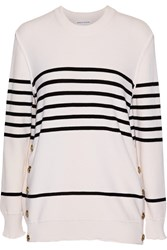 Sonia Rykiel Striped Wool Silk And Cashmere Blend Sweater White