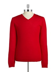 Strellson Wool V Neck Sweater Bright Red