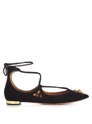 Aquazzura Christy Bee Embellished Suede Flats Black Multi