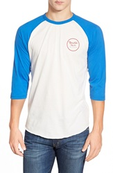 Brixton 'Wheeler' Three Quarter Raglan Baseball T Shirt White Royal