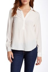 Zoa Roll Sleeve Collared Blouse White