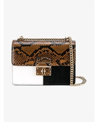 Dolce And Gabbana Snakeskin Textured Leather Box Bag Black White Brown