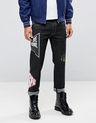 Love Moschino Slim Fit Printed Jeans Blue