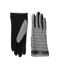 Lauren Ralph Lauren Menswear Pattern Metal Logo Touch Gloves Black Cream Houndstooth Wool Gloves Multi