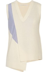 Thakoon Addition Asymmetric Paneled Wool And Cashmere Blend Vest Ivory