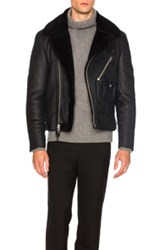 Coach 1941 Sheep Shearling Motorcycle Jacket In Blue