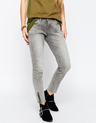 Blank Nyc Morning Skinny Cropped Jean With Ankle Zips In Grey Wash Grey