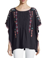 Jwla By Johnny Was Embroidered Pintuck Poncho Top Black Multi