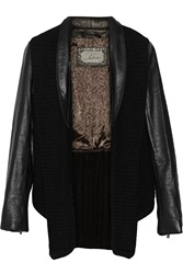 Line Uptown Leather Textured Knit And Ribbed Knit Jacket Black