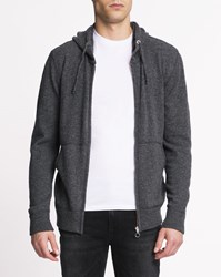 Knowledge Cotton Apparel Grey Hooded Zip Up Jumper Blue