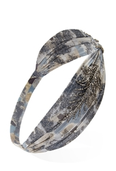Forever 21 Beaded Abstract Sky Print Headwrap Blue Cream