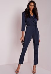 Missguided Silky Wrap Shirt Jumpsuit Navy Blue