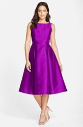 Adrianna Papell Women's Sleeveless Mikado Fit And Flare Midi Dress Berry