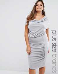 Missguided Plus Size Slinky Cowl Neck Gathered Midi Dress Grey