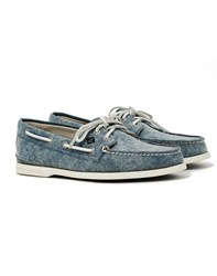 Sperry A O 2 Eye White Cap Canvas Boat Shoe Navy
