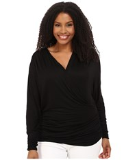 Kiyonna Femme Faux Wrap Top Black Noir Women's Long Sleeve Pullover