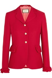 Gucci Ruffled Wool And Silk Blend Jacket Red