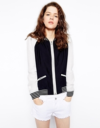 Greylin London Bomber Jacket With Perforated Sleeves Black