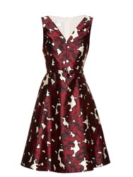 Oscar De La Renta Floral Print Silk Twill Dress Burgundy White