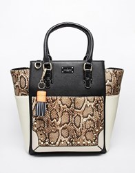 Pauls Boutique Studded Melissa Oversized Tote Bag In Snake Print Snakebeige