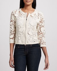 Michael Simon Crochet Zip Front Cardigan Women's