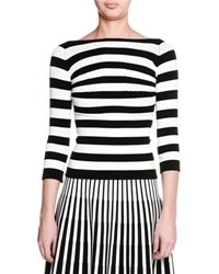 Tomas Maier Striped 3 4 Sleeve Boat Neck Top Black White