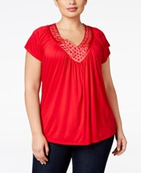 Soprano Plus Size Embellished V Neck Top Bright Red