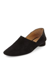 The Row Noelle Suede Slip On Loafer Black