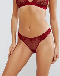 Asos Ria Basic Lace Mix And Match Thong Red