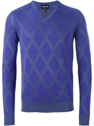 Giorgio Armani Argyle Pattern Sweater Pink And Purple